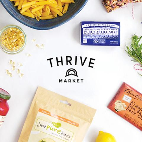 image Thrive MArket Healthy Groceries Pure castille soap,pasta,dark chocolate, pasta sauce