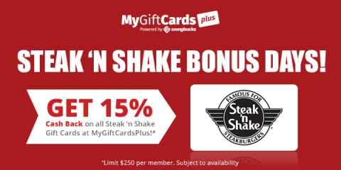 Steak 'N Shake Bonus Days at MyGiftCardsPlus