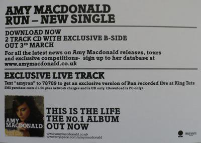 Amy MacDonald Promo Postcard