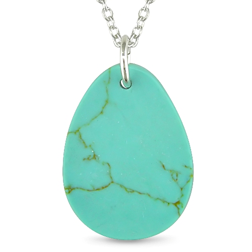 Turquoise Pear-Shaped Pendant and Silver Chain