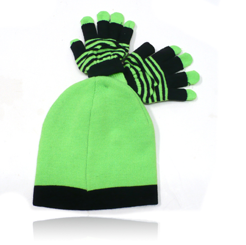 Neon Daze - Beanie and Gloves Set (Green)