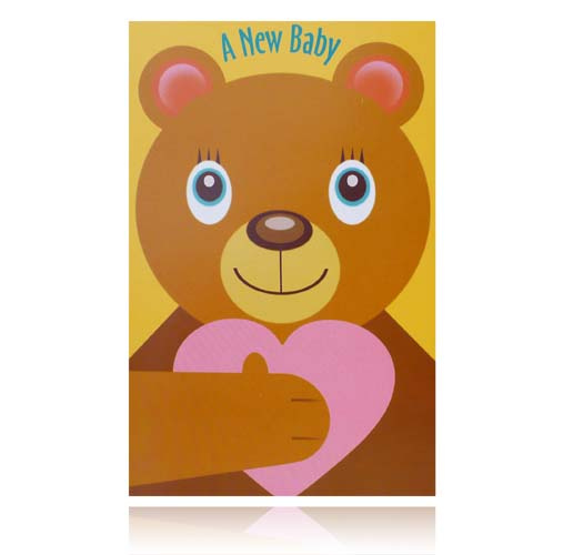 A New Baby Greeting Card (Teddy Bear With Heart)