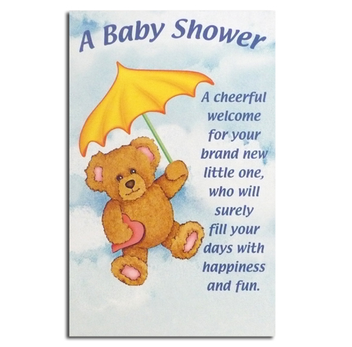 baby shower greeting card teddy with umbrella rewards store
