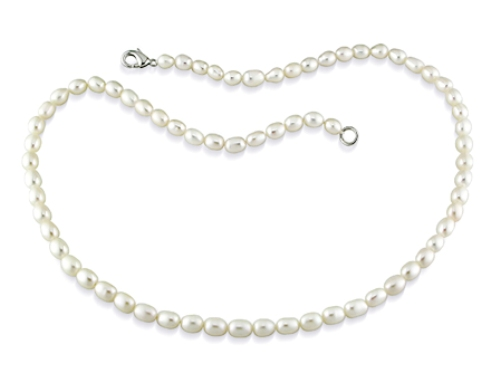 Rice White Pearl Necklace w/Metal Clasp