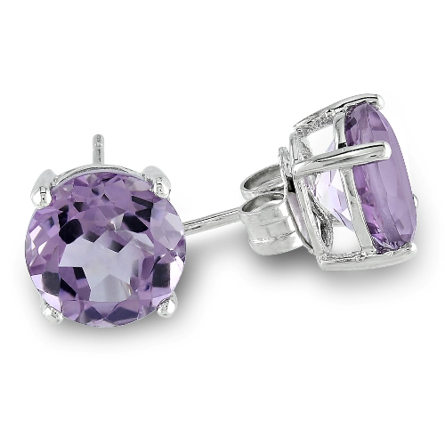 Round Amethyst Silver Solitaire Earrings