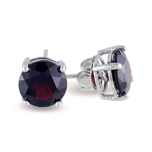 Round Garnet Silver Solitaire Earrings