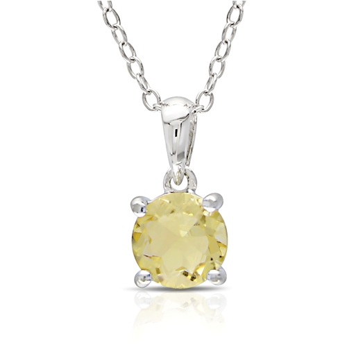 Round Citrine Silver Solitaire Pendant with Chain