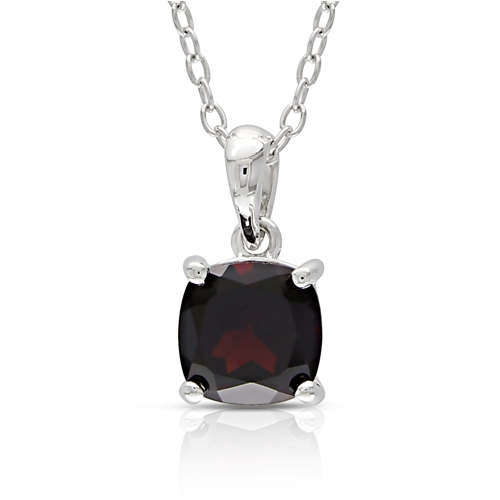 Cushion Garnet Silver Solitaire Pendant with Chain