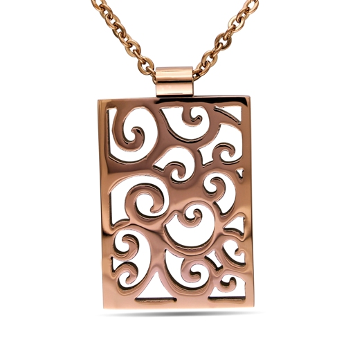Stainless Steel Pendant w/Bronze Finishing & Chain