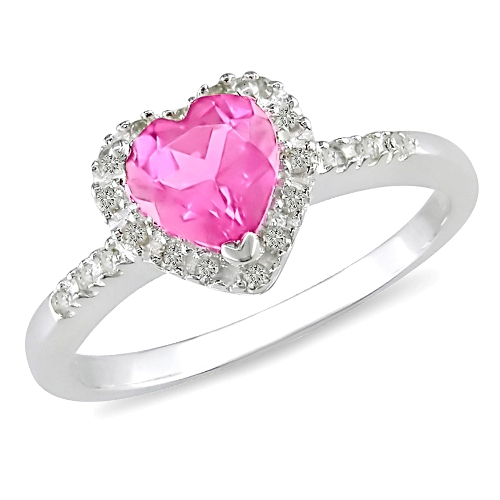 Diamond And Created Pink Sapphire Heart Ring Rewards Store