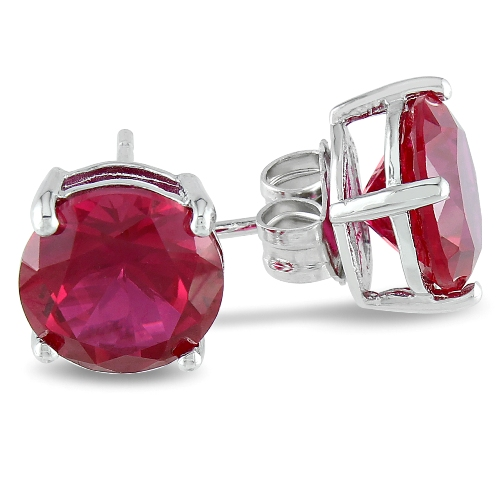 8mm Round Created Ruby Earrings