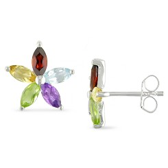 Silver Flower Earrings w/ Multi Gemstones