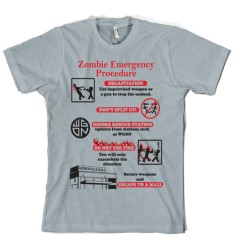 """Zombie Emergency Procedure"" - Crazy Dog T-Shirt"