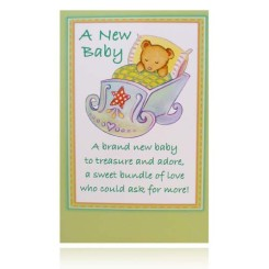 A New Baby Greeting Card (Teddy Bear Sleeping)