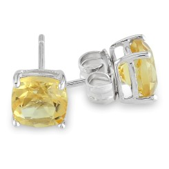 Cushion Citrine Silver Solitaire Earrings