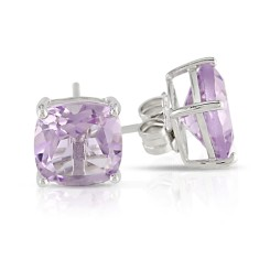 Cushion Amethyst Silver Solitaire Earrings
