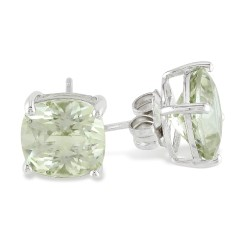 Cushion Green Amethyst Silver Solitaire Earrings