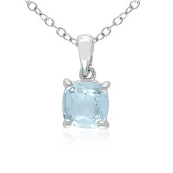 Cushion Blue Topaz Silver Solitaire Pendant