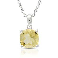 Cushion Citrine Silver Solitaire Pendant & Chain