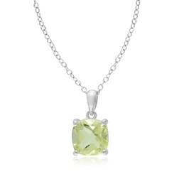 Cushion Lemon Quartz Silver Solitaire Pendant