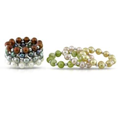 Set of Elastic Multi-Color Pearl Rings