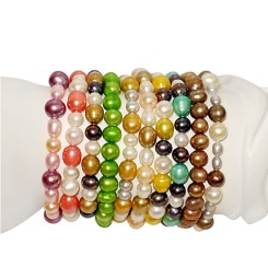 10 Pc Set Pearl Elastic Bracelet (Assorted Colors)