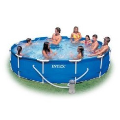 Family Size 12' Round Metal Frame Pool Set