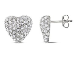Heart Shaped Cubic Zirconia Earrings in Silver