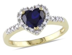 Diamond & Sapphire Ring in Silver w Yellow Plating