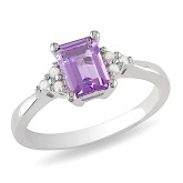 1/10 CT Diamond & 7/8 CT Amethyst Silver Ring