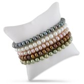 Set of Pearl Elastic Bracelets in Leather Pouch