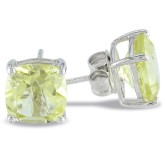 Cushion Lemon Quartz Silver Solitaire Earrings