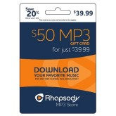 Rhapsody MP3 e-Gift Card - $50