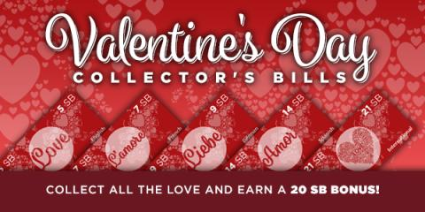 Valentine's Day Collectors Bills with Swagbucks