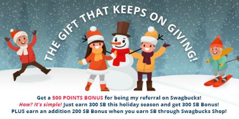 Get 500 bonus SB when you sign up for Swagbucks in January